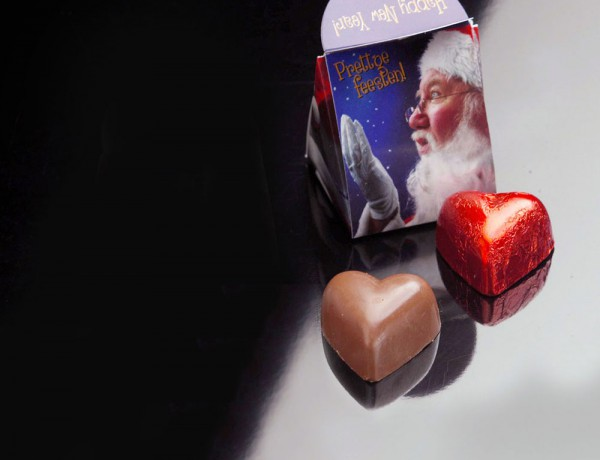 Christmas GiftBox containing one heart shaped chocolate