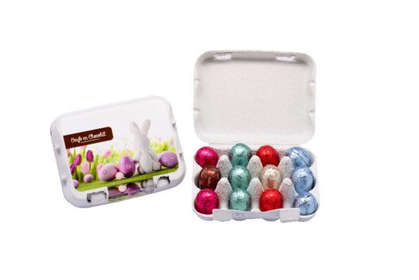 Carton gift box of 12 chocolate eggs