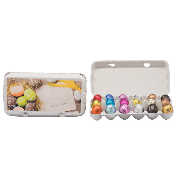 Carton gift box of 18 chocolate eggs